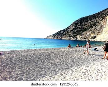 morning walk on Myrtos beach Kefalonia is the best