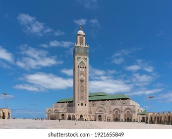 a morning wide angle shot of the hassan ii mosque in casablanca, morroco