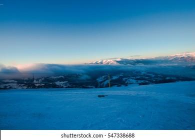 Morning winter in carpathians mountains