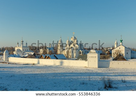 Morning winter landscape in the ancient Russian town. Pokrovsky monastery in Suzdal.