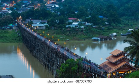 Morning At Wooden Mon Bridge, Sangkhla Buri, Kanchanaburi province, Thailand.