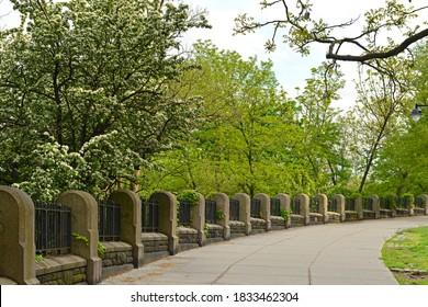 Morningside Drive and Morningside Park in Morningside Heights neighborhood of New York City, USA. Spring