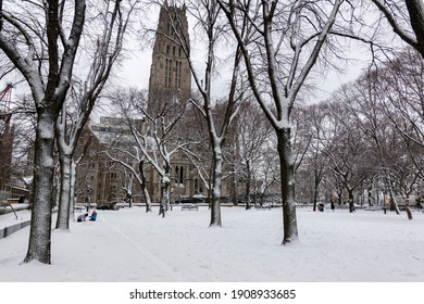 Morningside heights, Manhattan, New York, USA. February 2021.  Snow covered Sakura Park and Riverside Church in the Morningside neighborhood of Manhattan, NYC.