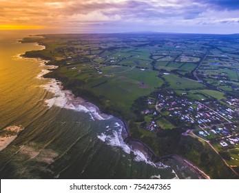 Mornington Peninsula Sunset aerial view