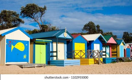 MORNINGTON PENINSULA, VICTORIA, AUSTRALIA - 16 JULY 2012: Colourful bathing boxes line the many gorgeous beaches of Melbourne's seaside playground on the Mornington Peninsula.