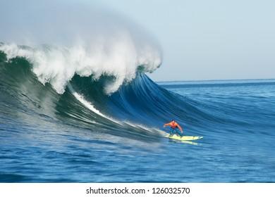 MORO BAY, CALIFORNIA-JANUARY 20:Josh Loya surfing on a classic wave during the Maverick Invitational Surfing event, January 20, 2013  in Moro Bay, California.