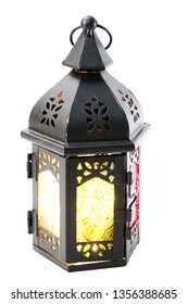 moroccan arabic metal lantern decorative candle holder isolated on white background