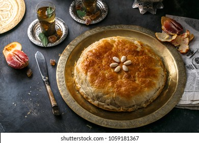 Moroccan bastilla with chicken, eggs and spices