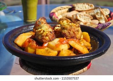 Moroccan Berber Food. Berber village, Atlas Mountains, Morocco.