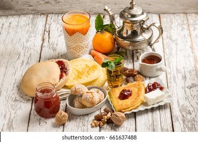 moroccan breakfast with mint tea pancakes juice