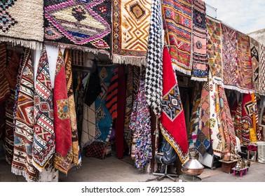 Moroccan carpets on market, Morocco, Casablanca.