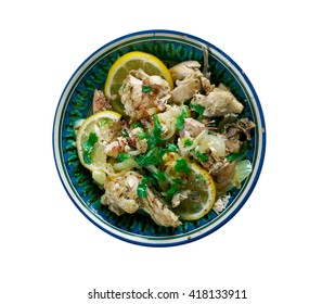 Moroccan Chicken - Place the onion, parsley, coriander, lemon juice, garlic, cumin