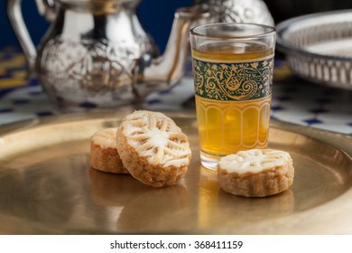 moroccan cookies and tea on a tray
