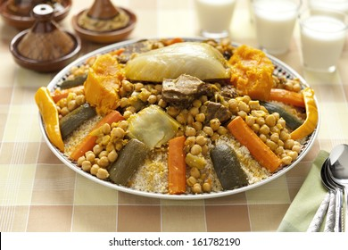 Moroccan couscous dish served with buttermilk