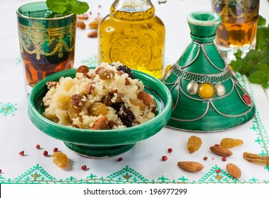 Moroccan couscous with dried fruit and nuts and Moroccan mint tea