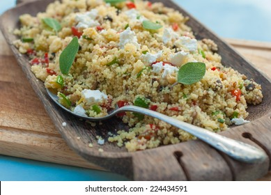 Moroccan couscous with vegetables and cheese