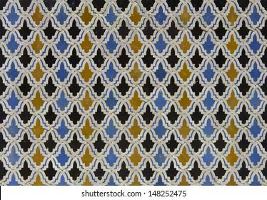 Moroccan darj w wtaf  tile pattern in a  riad Fes Morocco