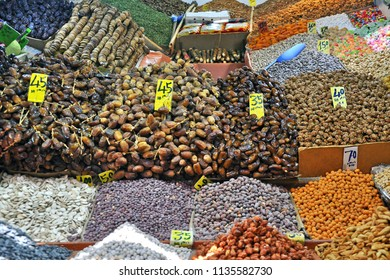 Moroccan delight. Tasty dates, dried fruits, apricots in street market