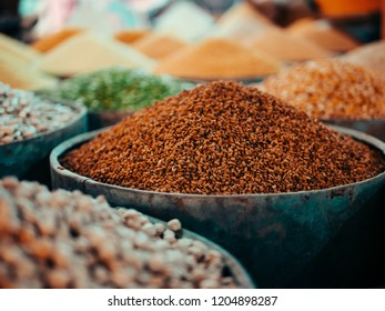 Moroccan food shop on a Market with corn, rice, peas and other grain