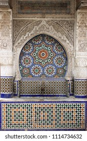 Moroccan fountain with mosaic tiles in Meknes, Morocco