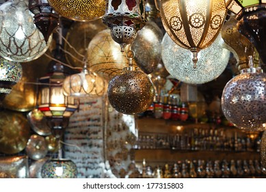 Moroccan glass and metal lanterns lamps in Marrakesh souq