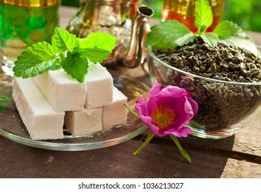 Moroccan green mint tea with dessert.
