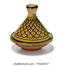 Moroccan handmade decorated tagine on white background