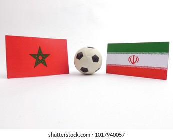 Moroccan and Iranian flag with football ball isloated on white background