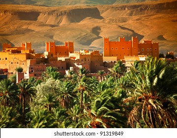 Moroccan kasbah in Atlas Mountains, Morocco, Africa