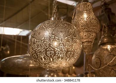 Moroccan metal lanterns lamps in Marrakech