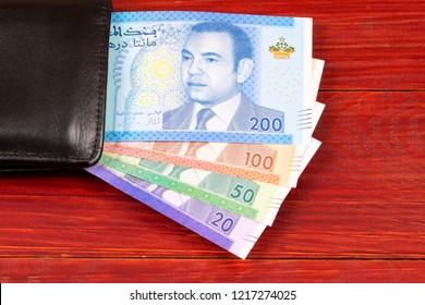 Moroccan money in the black wallet