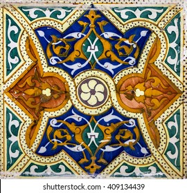 Moroccan mosaic tile, ceramic decoration of mosque, Tanger, Morocco