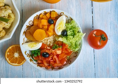 Moroccan Salad Medley , Moroccan cuisine; assorted dishes; Top vie;