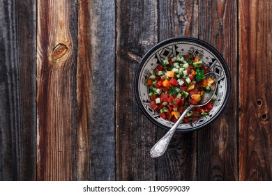 Moroccan salad in traditional plate, copy space