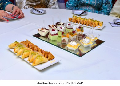 Moroccan salty appetizers offered at weddings. With ice cream