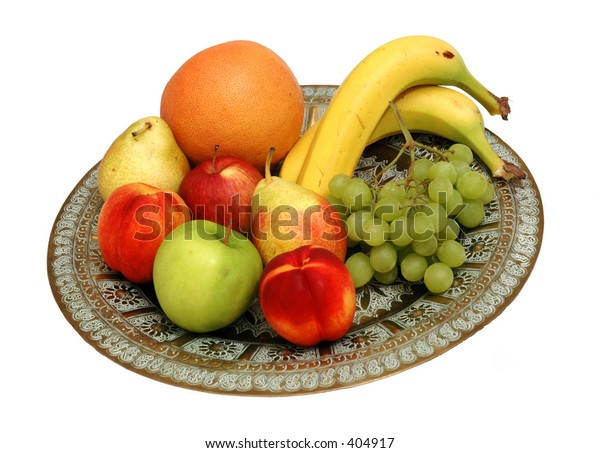 Moroccan serving plate heaped with fresh fruit