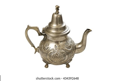 Moroccan Silver Teapot isolated on a white background close up
