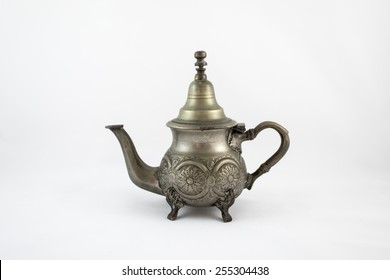 Moroccan silver teapot isolated in the white background