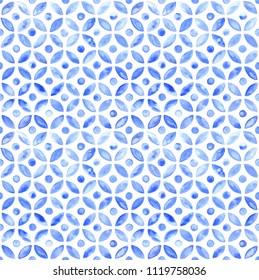 Moroccan simple seamless tile - navy watercolor