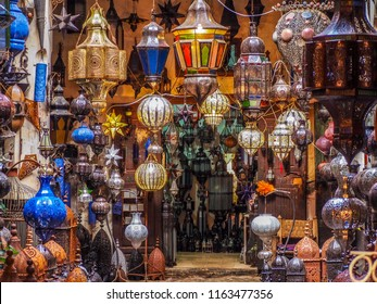 Moroccan style lighting in a shop in souks in Medina Marrakech