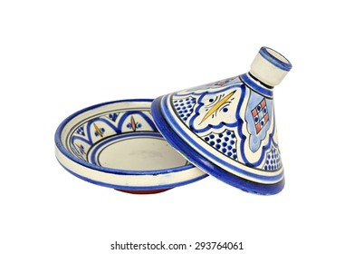 A moroccan tagine on a white background