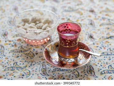 Moroccan tea cup with nuts
