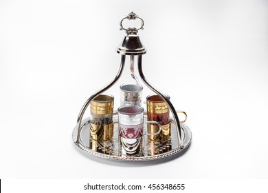 Moroccan tea cups on tray