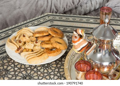 Moroccan tea tray and ramadan cookies ready for guests