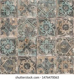 moroccan tile background. Traditional ornate portuguese decorative azulejos tiles