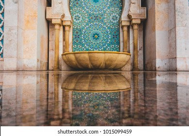 Moroccan traditional water tap decorated with colorful shapes of mosaic - Casablanca, Morocco