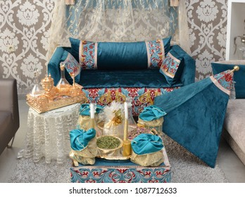 Moroccan Tyafer, traditional gift containers for the wedding ceremony, decorated with ornate golden embroidery.Moroccan henna .Moroccan wedding gifts for the bride