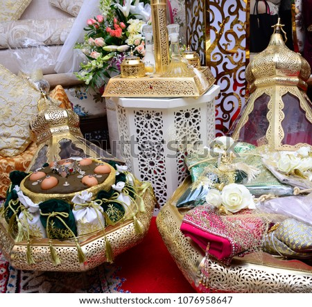 moroccan tyafer traditional gift containers wedding stock photo
