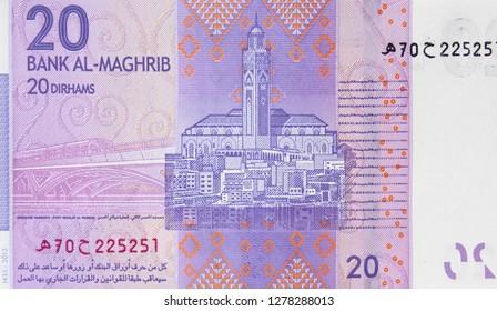 Morocco 20 dirham banknote. Moroccan money currency close up. Morocco economy.