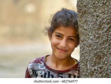 Morocco, 2014 - the Moroccan girl on the street of old Medina of the city of Fes